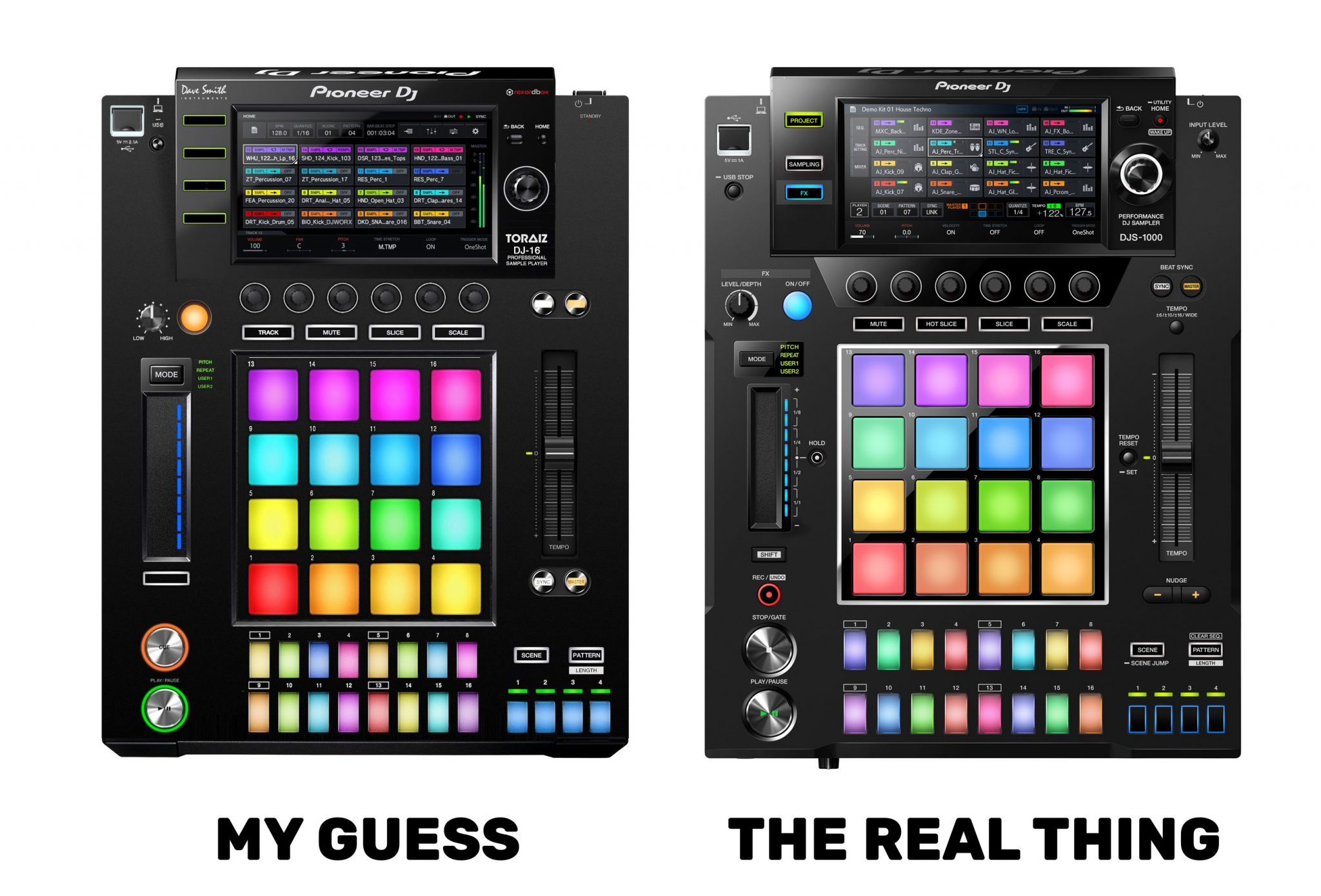 It's real —the DJS-1000 is a sampler and sequencer in a CDJ box 1